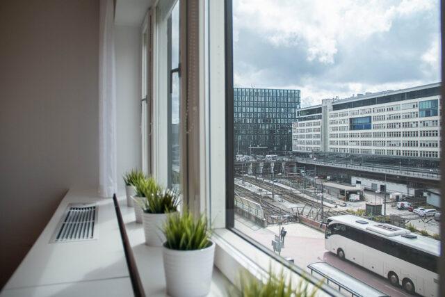Utsikt över Stockholm city och Centralstationen från ett av City Office kontor